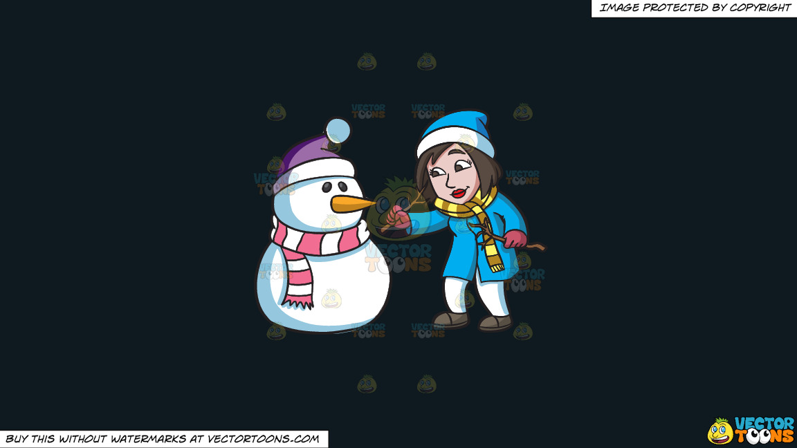 A Woman Carefully Placing The Arms Of A Snowman On A Solid Off Black 0f1a20 Background thumbnail