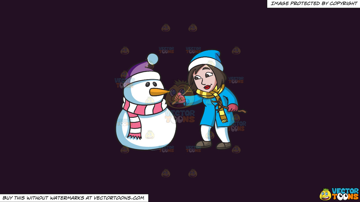 A Woman Carefully Placing The Arms Of A Snowman On A Solid Purple Rasin 241023 Background thumbnail