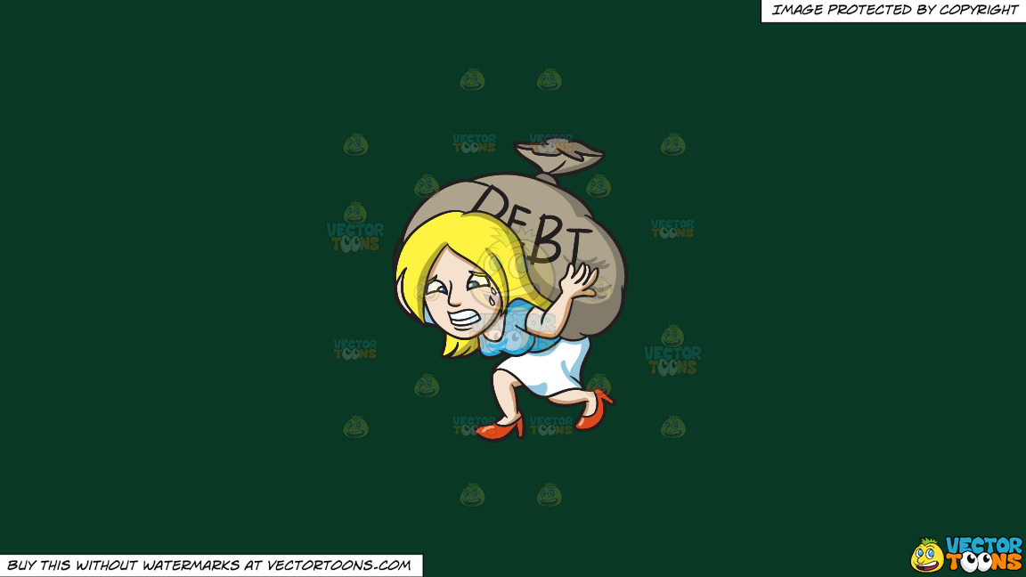 A Woman Carrying A Heavy Sack Of Debt On A Solid Dark Green 093824 Background thumbnail