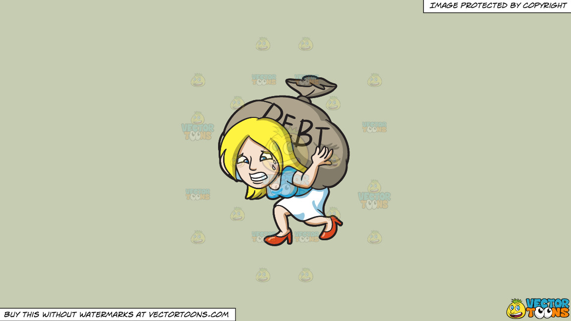 A Woman Carrying A Heavy Sack Of Debt On A Solid Pale Silver C6ccb2 Background thumbnail