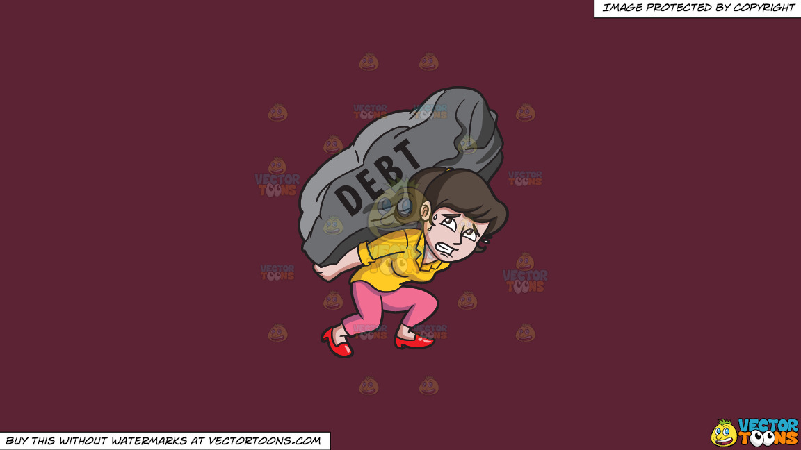 A Woman Carrying A Huge Rock Of Debt On A Solid Red Wine 5b2333 Background thumbnail