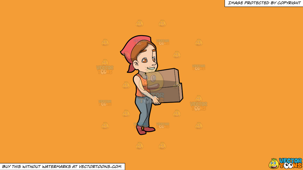 A Woman Carrying Two Heavy Boxes On A Solid Deep Saffron Gold F49d37 Background thumbnail