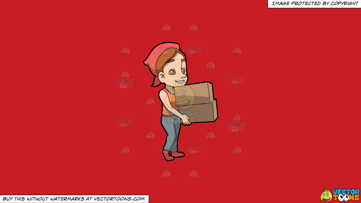 A Woman Carrying Two Heavy Boxes On A Solid Fire Engine Red C81d25 Background thumbnail