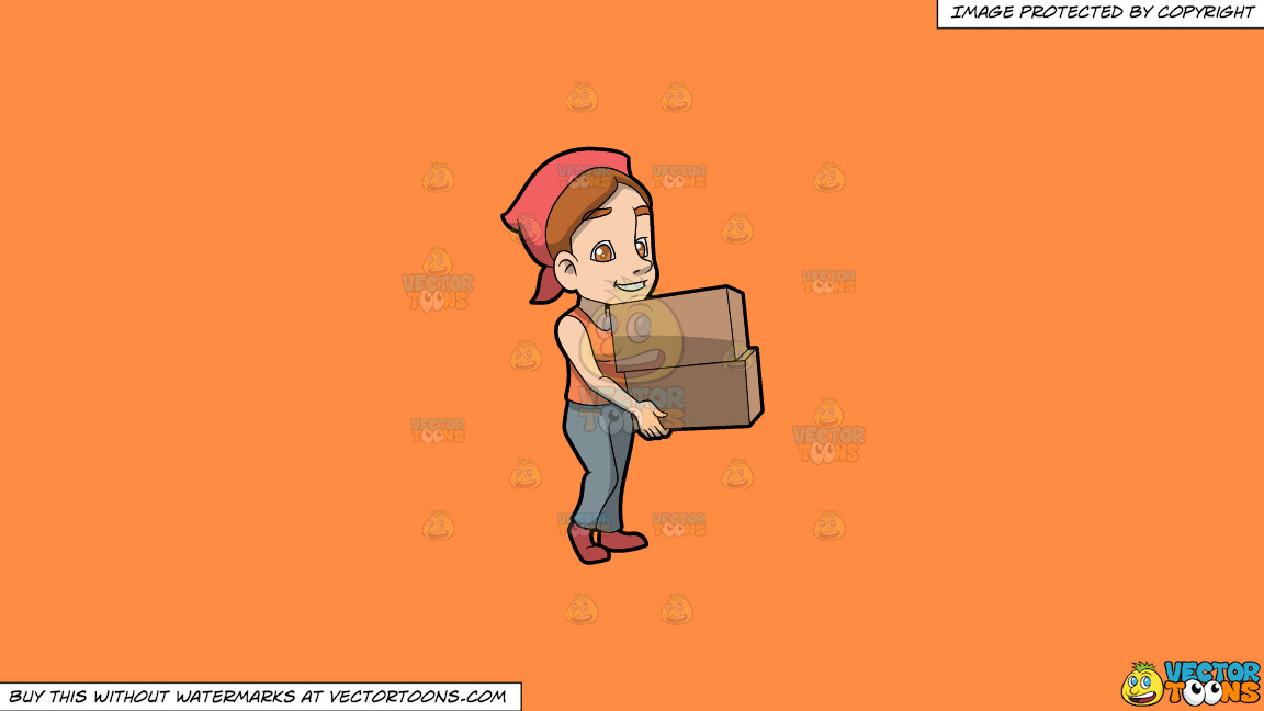 A Woman Carrying Two Heavy Boxes On A Solid Mango Orange Ff8c42 Background thumbnail