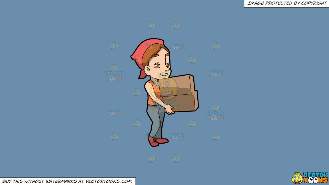 A Woman Carrying Two Heavy Boxes On A Solid Shadow Blue 6c8ead Background thumbnail