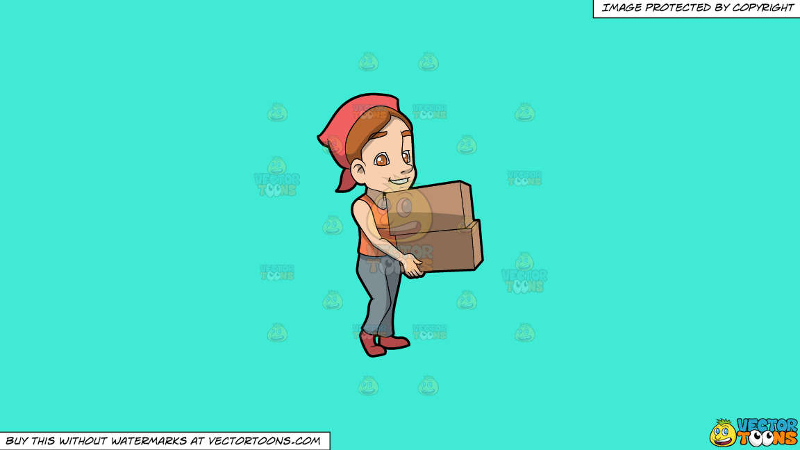 A Woman Carrying Two Heavy Boxes On A Solid Turquiose 41ead4 Background thumbnail