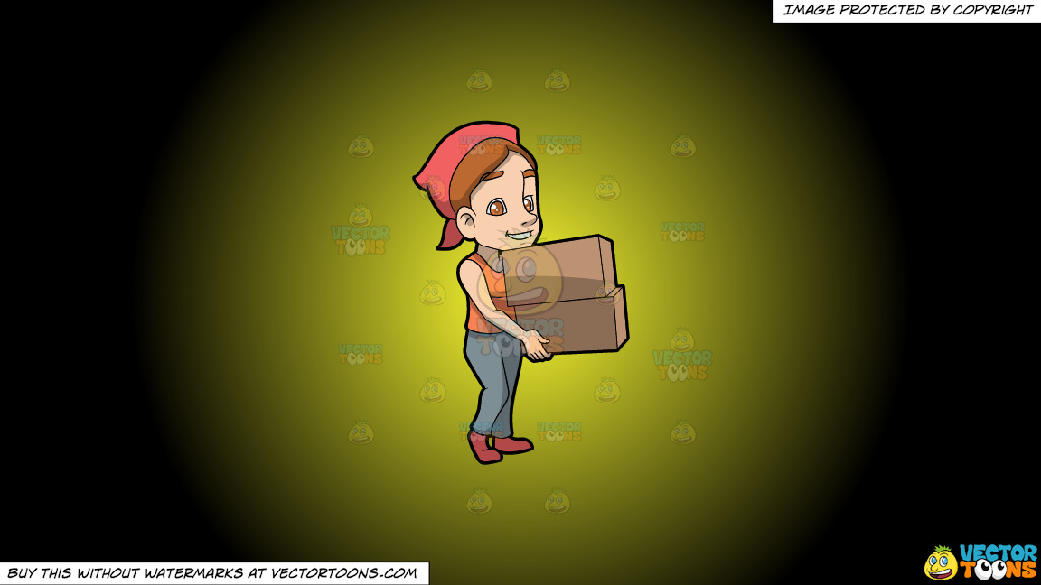 A Woman Carrying Two Heavy Boxes On A Yellow And Black Gradient Background thumbnail