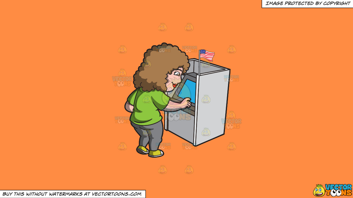 A Woman Casting Her Vote During The Election On A Solid Mango Orange Ff8c42 Background thumbnail