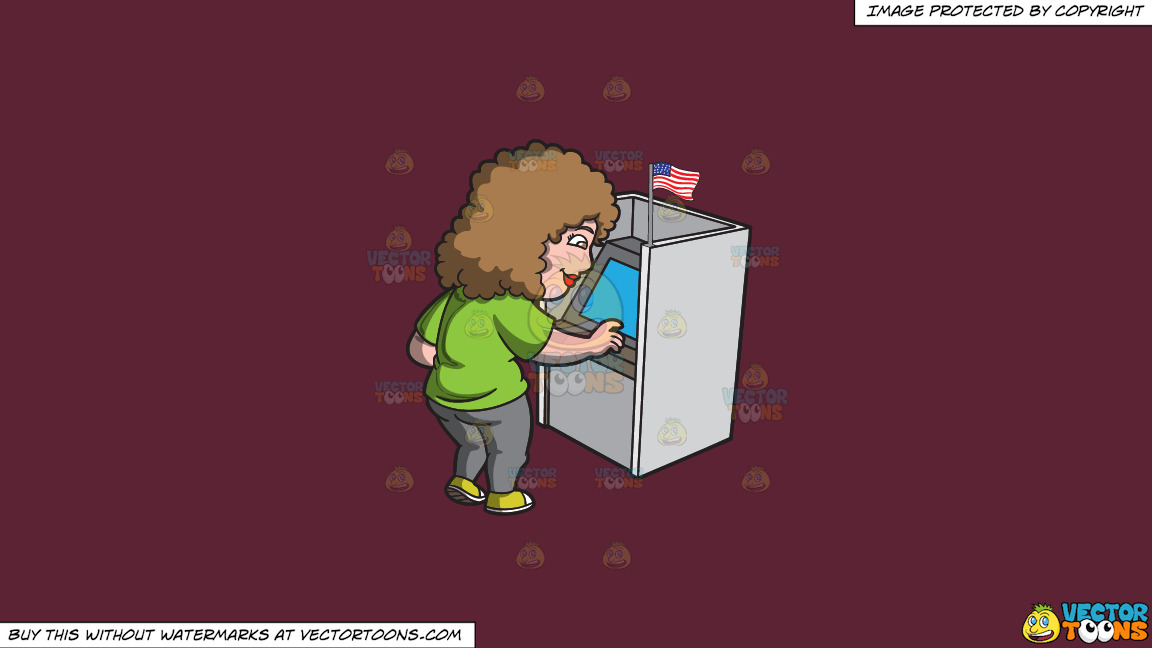 A Woman Casting Her Vote During The Election On A Solid Red Wine 5b2333 Background thumbnail