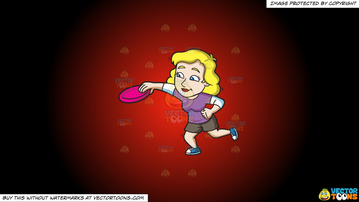 A Woman Catches A Frisbee On A Red And Black Gradient Background thumbnail