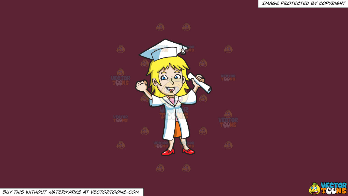 A Woman Celebrating Her Recent Graduation On A Solid Red Wine 5b2333 Background thumbnail
