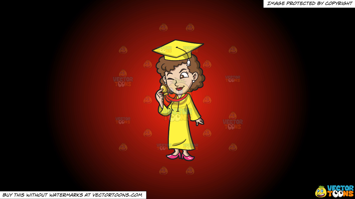 A Woman Checking Her Graduation Medal Award On A Red And Black Gradient Background thumbnail
