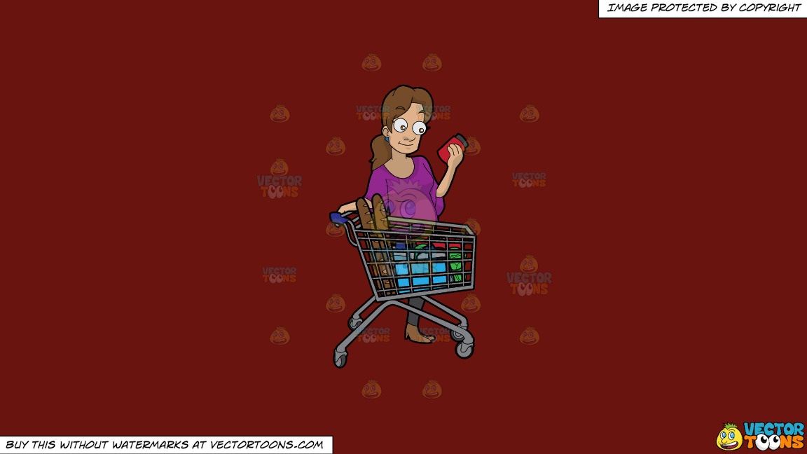 A Woman Checking Some Ingredients On A Food Item Before Buying On A Solid Maroon 69140e Background thumbnail