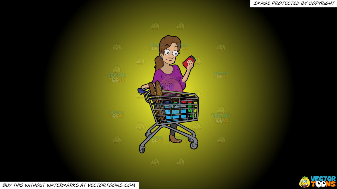 A Woman Checking Some Ingredients On A Food Item Before Buying On A Yellow And Black Gradient Background thumbnail