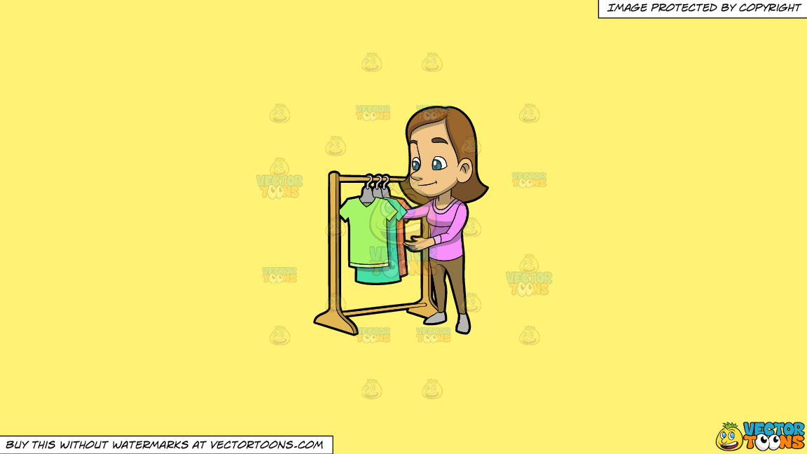 A Woman Checking The Shirt Rack On Sale On A Solid Sunny Yellow Fff275 Background thumbnail
