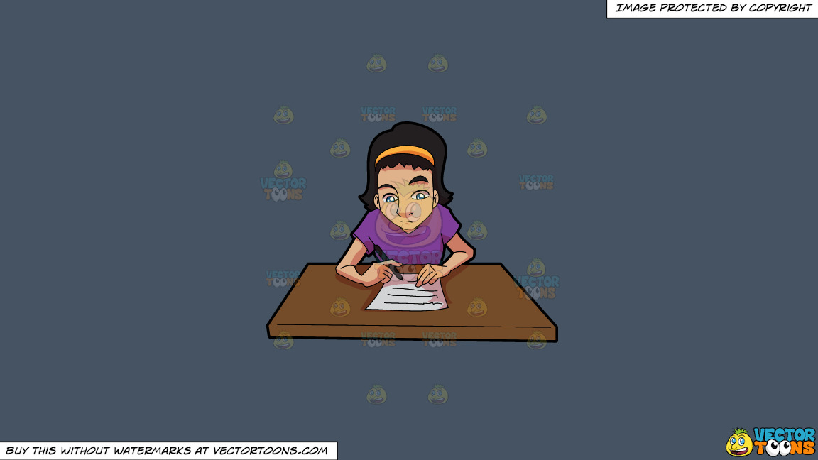A Woman Composing A Letter On A Solid Metal Grey 465362 Background thumbnail