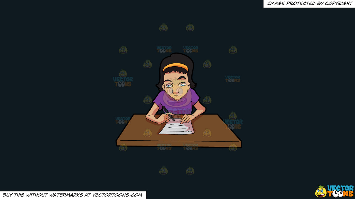 A Woman Composing A Letter On A Solid Off Black 0f1a20 Background thumbnail