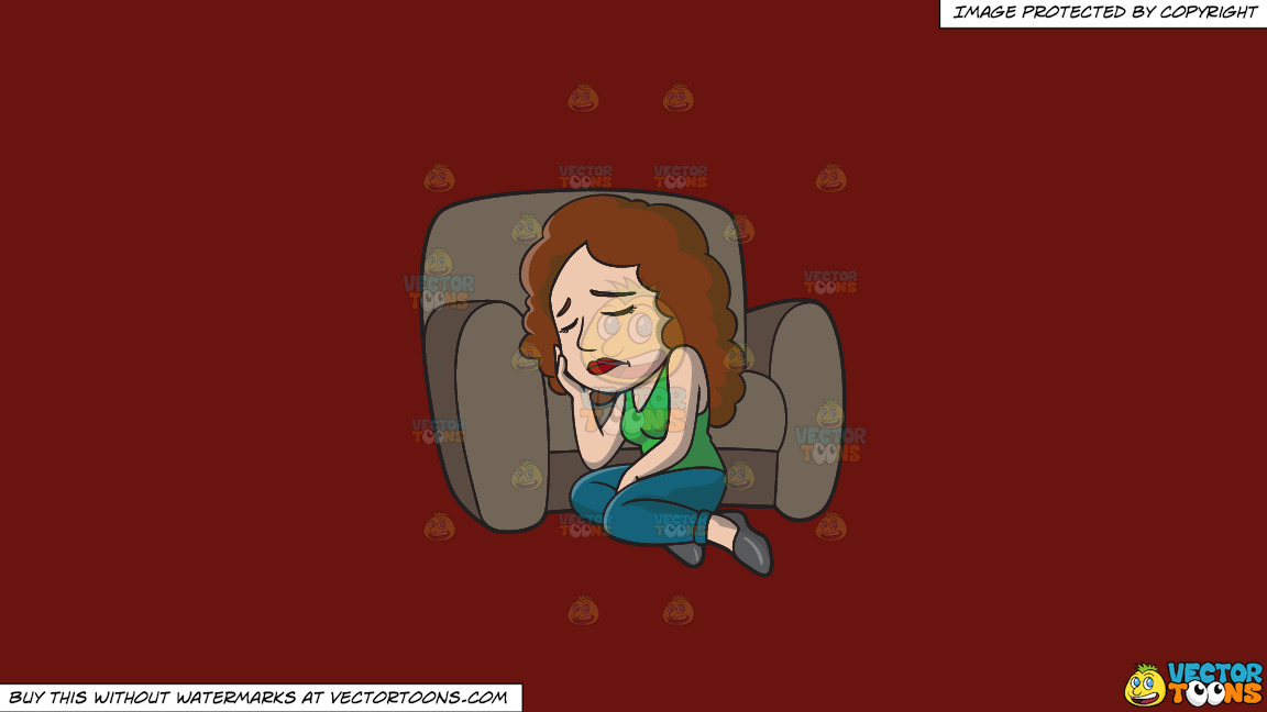 A Woman Crying Alone On A Solid Maroon 69140e Background thumbnail