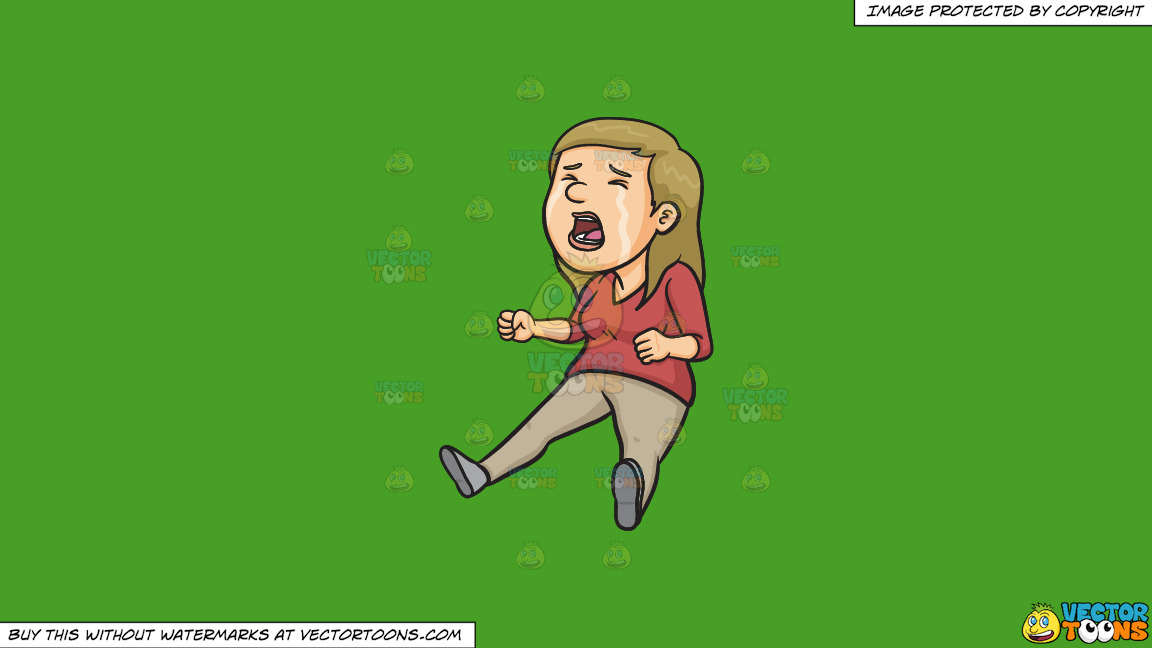 A Woman Crying Hysterically On A Solid Kelly Green 47a025 Background thumbnail