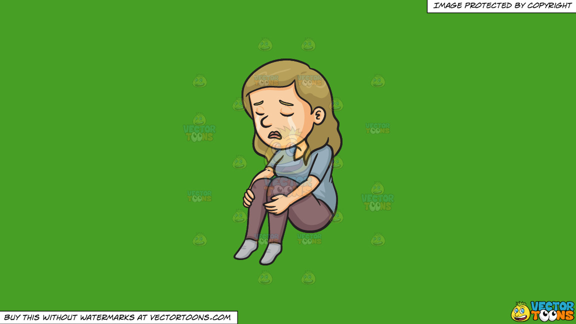 A Woman Crying Silently On A Solid Kelly Green 47a025 Background thumbnail