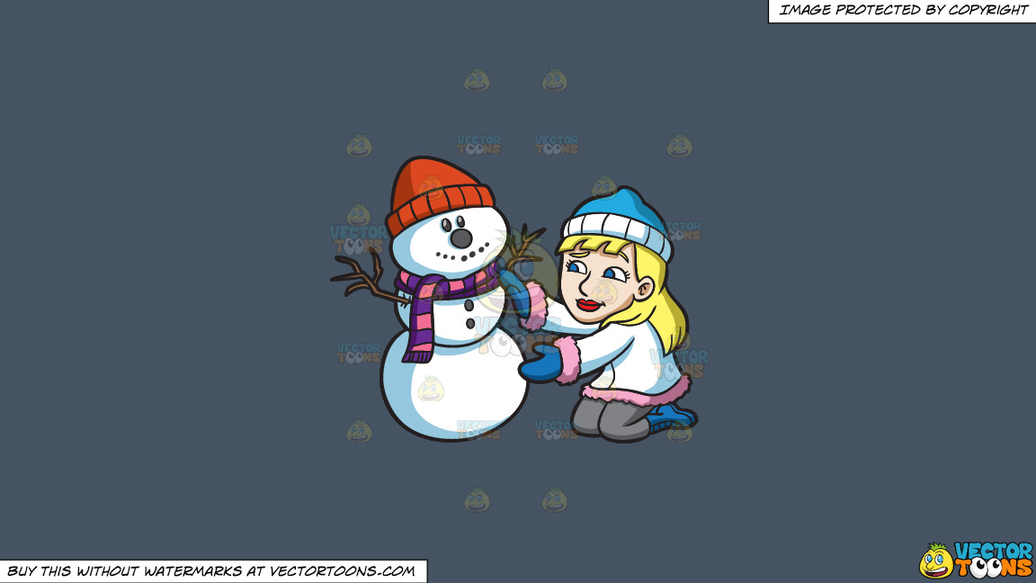 A Woman Decorating A Snowman For The Holidays On A Solid Metal Grey 465362 Background thumbnail