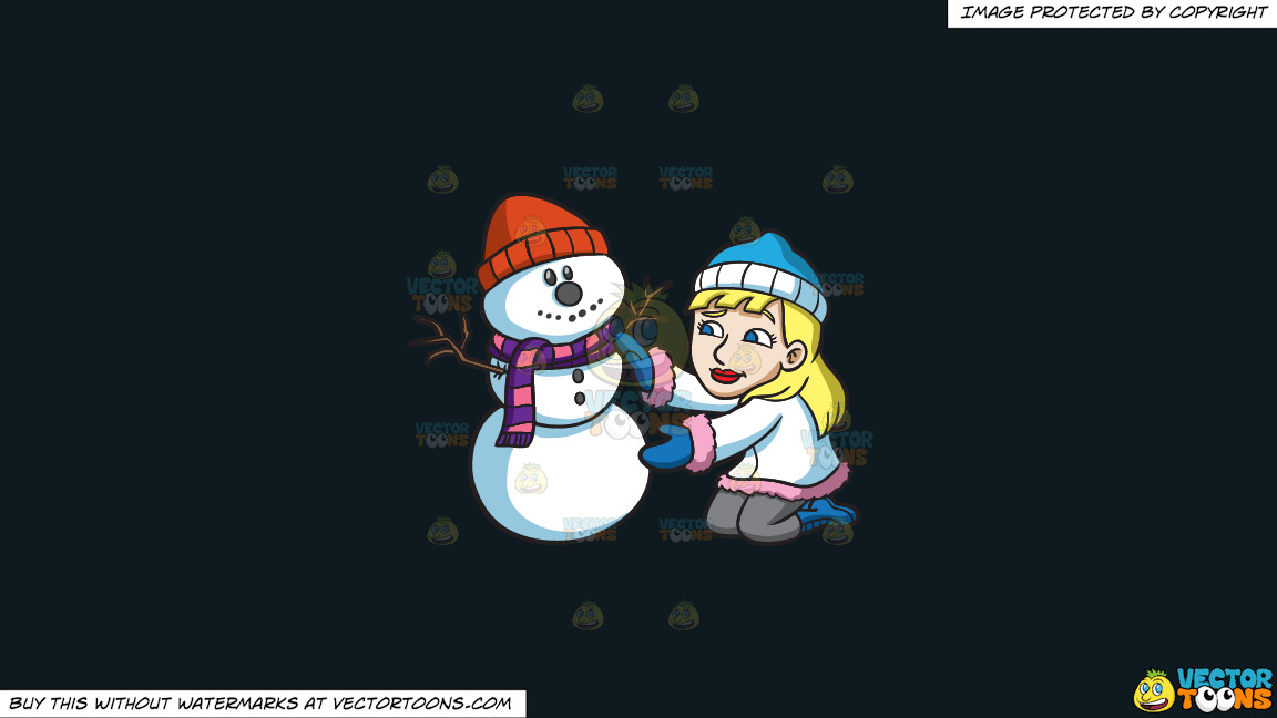 A Woman Decorating A Snowman For The Holidays On A Solid Off Black 0f1a20 Background thumbnail