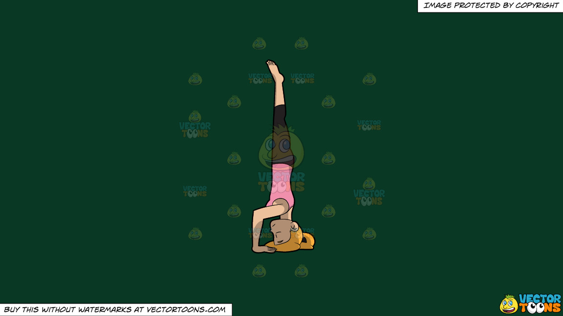 A Woman Doing A Variant Of The Hands Free Headstand Yoga Pose On A Solid Dark Green 093824 Background thumbnail