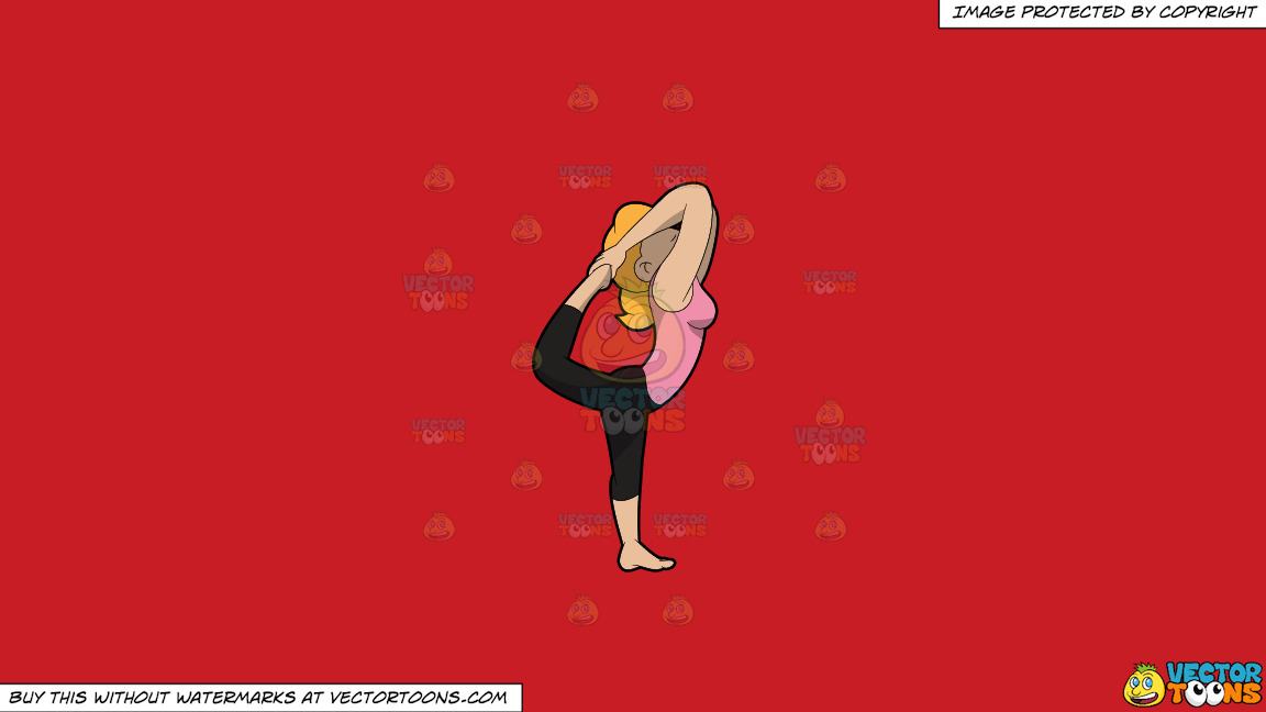 A Woman Doing A Variant Of The Lord Of The Dance Yoga Pose On A Solid Fire Engine Red C81d25 Background thumbnail