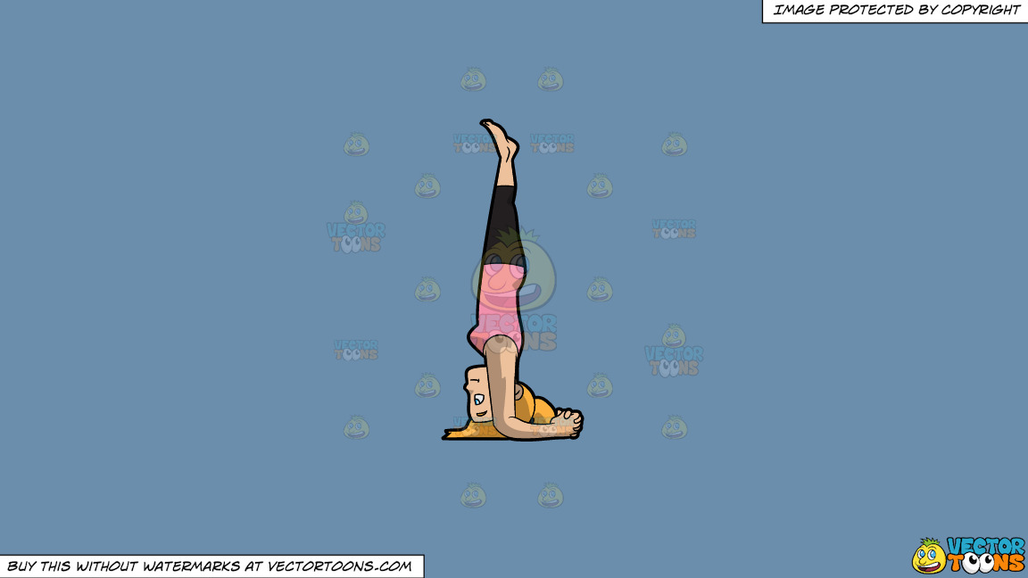 A Woman Doing A Variation Of The Headstand Yoga Pose On A Solid Shadow Blue 6c8ead Background thumbnail