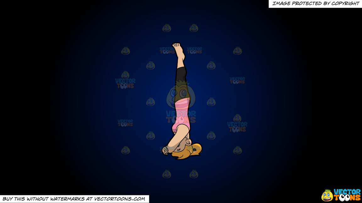 A Woman Doing A Variation Of The Supported Headstand Yoga Pose On A Dark Blue And Black Gradient Background thumbnail