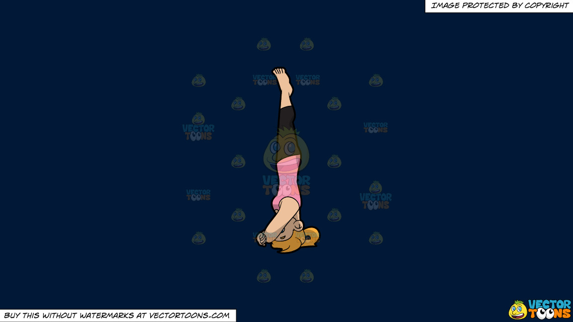 A Woman Doing A Variation Of The Supported Headstand Yoga Pose On A Solid Dark Blue 011936 Background thumbnail
