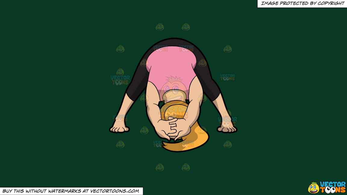 A Woman Doing A Variation Of The Wide Legged Forward Bend Yoga Pose On A Solid Dark Green 093824 Background thumbnail