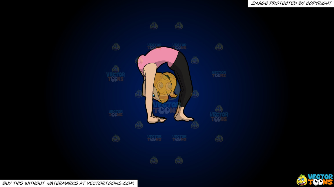 A Woman Doing An Upward Wheel Yoga Pose On A Dark Blue And Black Gradient Background thumbnail
