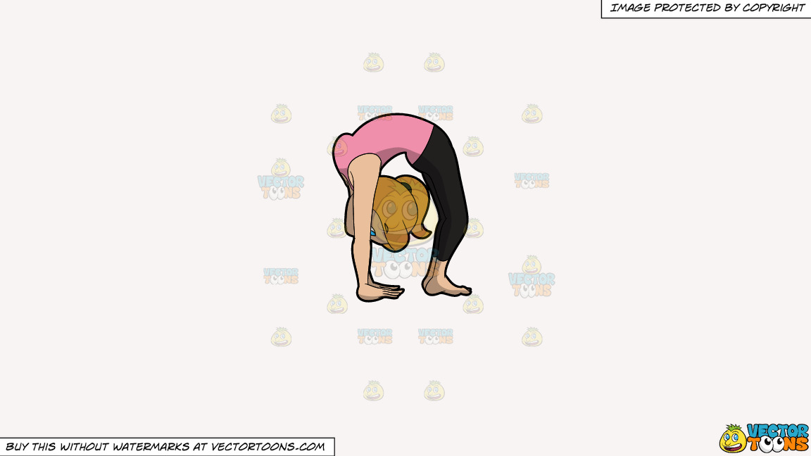 A Woman Doing An Upward Wheel Yoga Pose On A Solid White Smoke F7f4f3 Background thumbnail