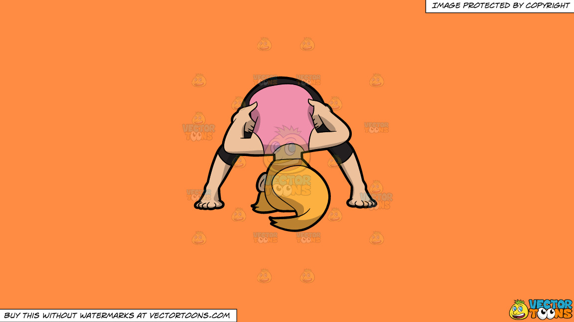 A Woman Doing Another Variant Of A Wide Legged Forward Bend Yoga Pose On A Solid Mango Orange Ff8c42 Background thumbnail