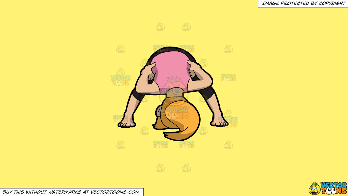 A Woman Doing Another Variant Of A Wide Legged Forward Bend Yoga Pose On A Solid Sunny Yellow Fff275 Background thumbnail