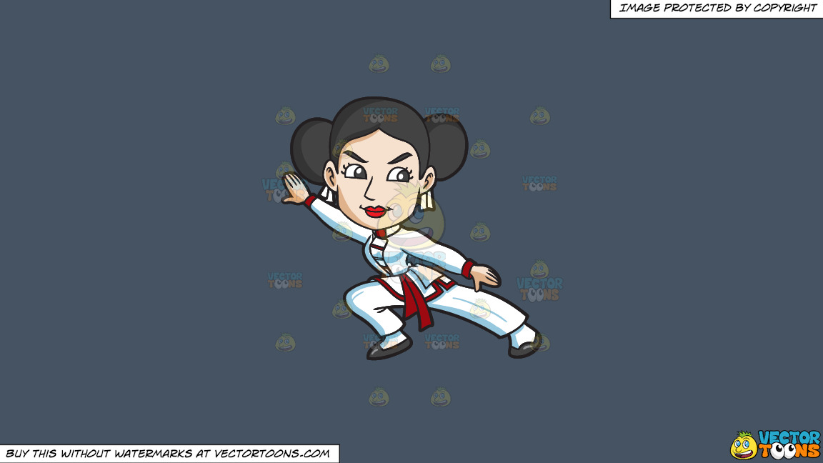 A Woman Doing Her Best Kung Fu Stance On A Solid Metal Grey 465362 Background thumbnail