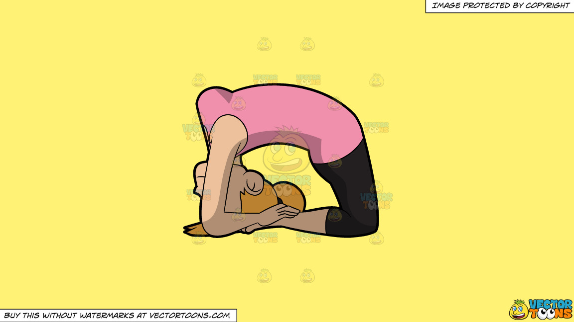 A Woman Doing The Ashtanga Pigeon Yoga Pose On A Solid Sunny Yellow Fff275 Background thumbnail
