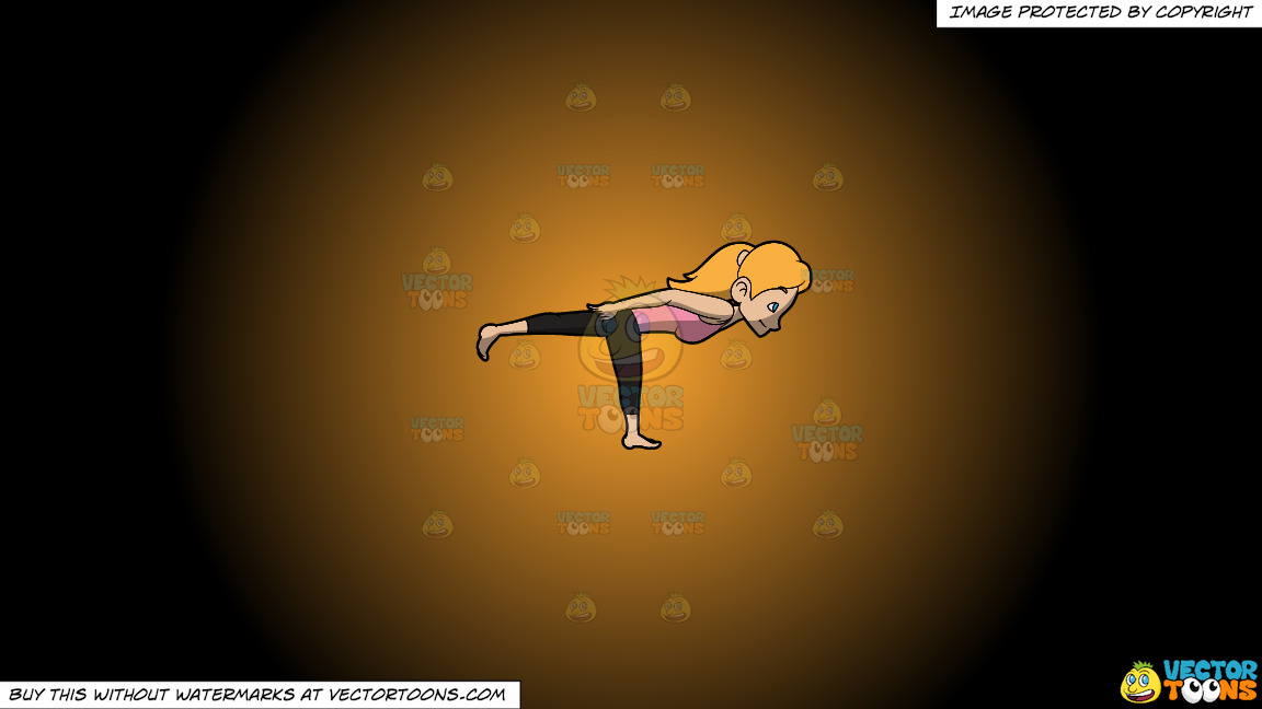 A Woman Doing The Direction Yoga Pose On A Orange And Black Gradient Background thumbnail