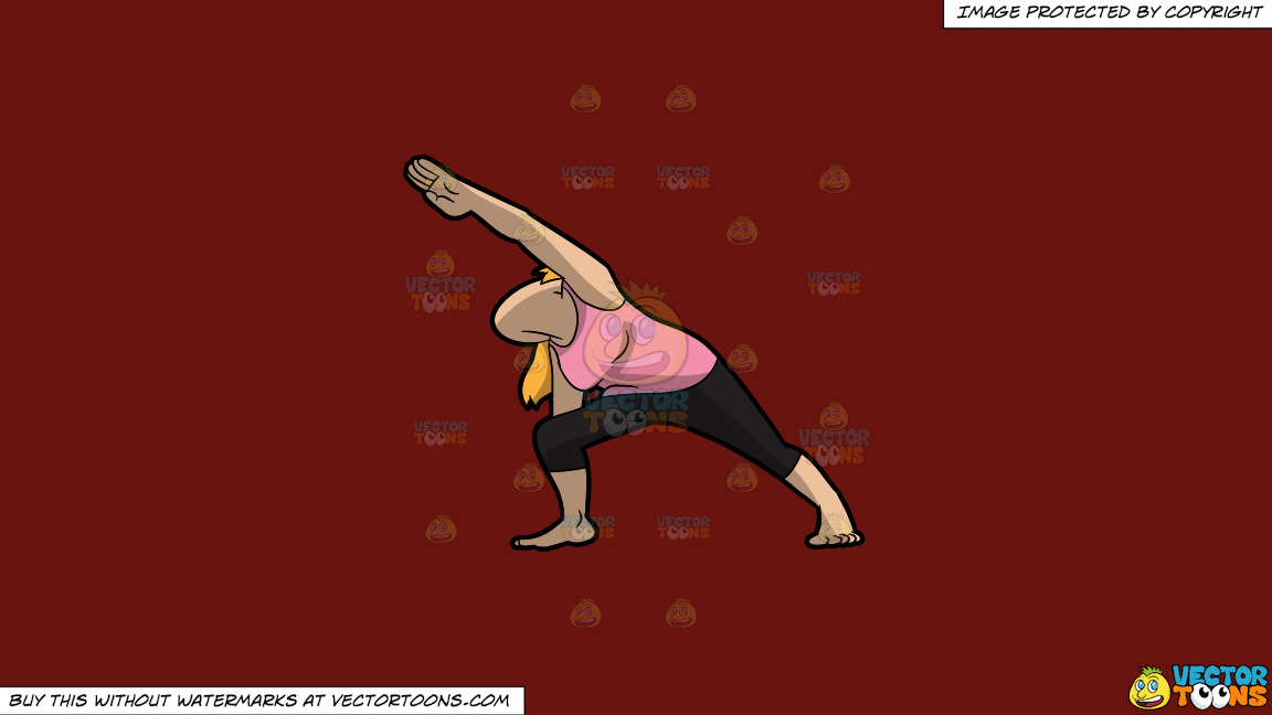 A Woman Doing The Extended Side Angle Yoga Pose On A Solid Maroon 69140e Background thumbnail