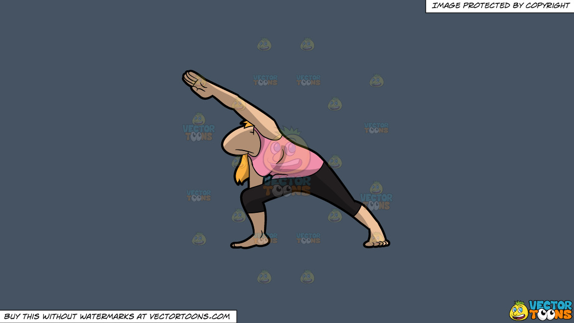A Woman Doing The Extended Side Angle Yoga Pose On A Solid Metal Grey 465362 Background thumbnail