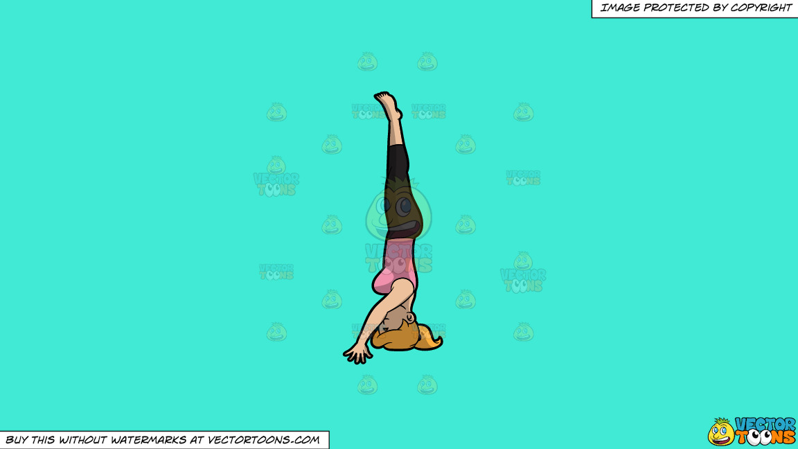 A Woman Doing The Hands Free Headstand Yoga Pose On A Solid Turquiose 41ead4 Background thumbnail