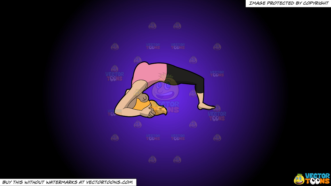 A Woman Doing The Two Leg Inverted Staff Yoga Pose On A Purple And Black Gradient Background thumbnail