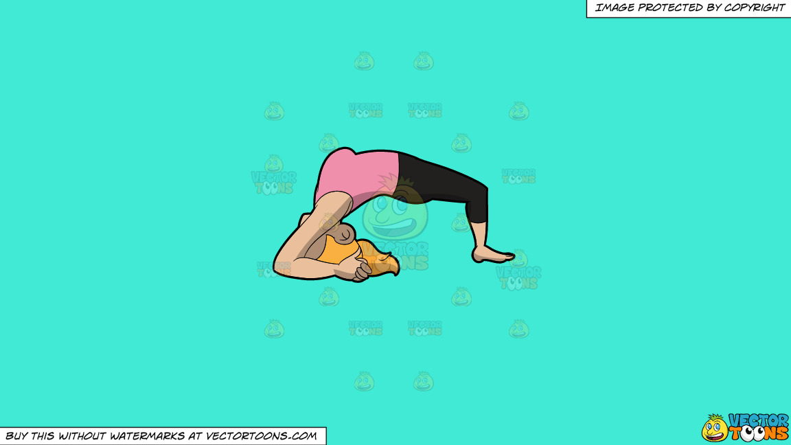 A Woman Doing The Two Leg Inverted Staff Yoga Pose On A Solid Turquiose 41ead4 Background thumbnail