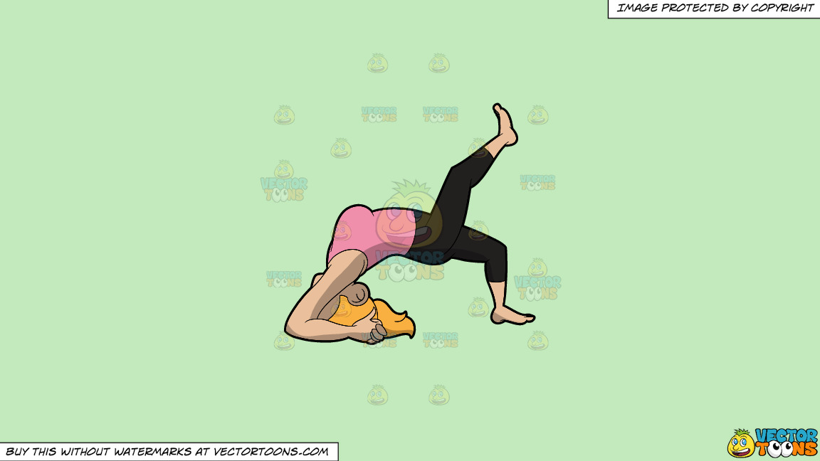 A Woman Doing The Two Legged Inverted Staff Yoga Pose On A Solid Tea Green C2eabd Background thumbnail