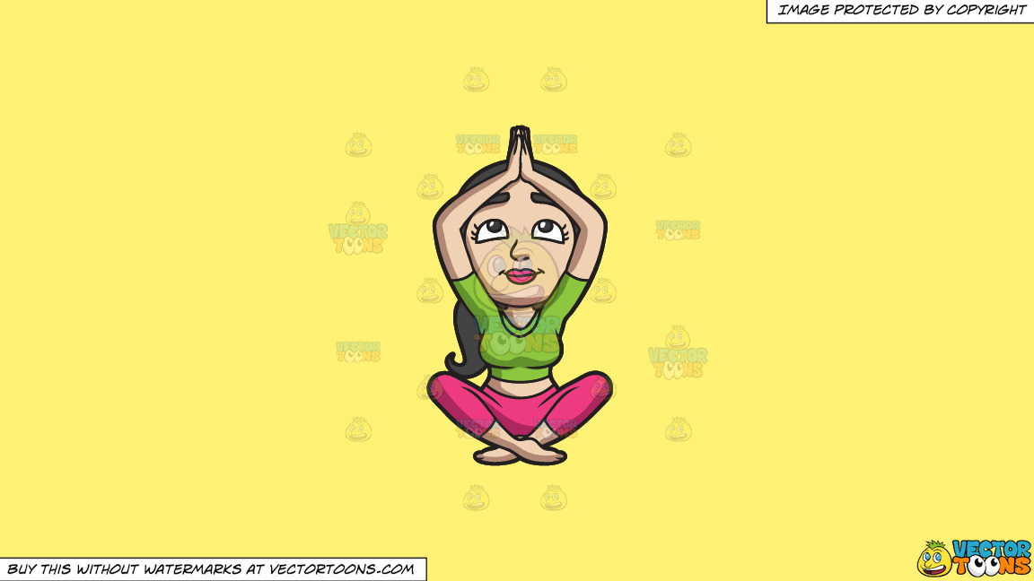 A Woman Doing Yoga Meditation On A Solid Sunny Yellow Fff275 Background thumbnail