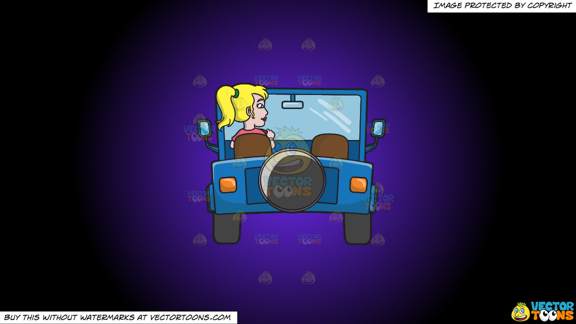 A Woman Driving A Blue Jeep On A Purple And Black Gradient Background thumbnail