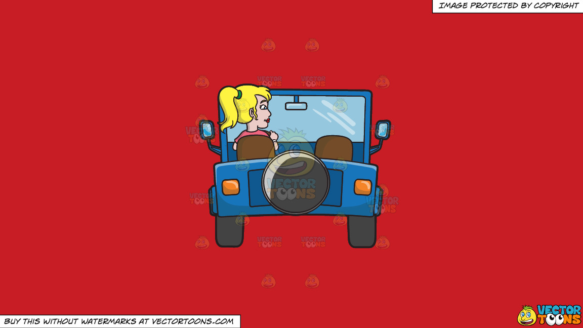 A Woman Driving A Blue Jeep On A Solid Fire Engine Red C81d25 Background thumbnail