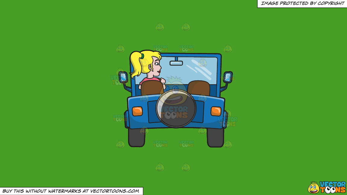 A Woman Driving A Blue Jeep On A Solid Kelly Green 47a025 Background thumbnail