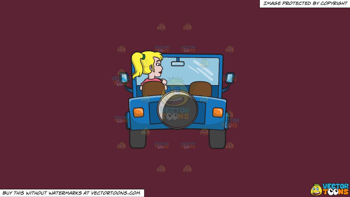 A Woman Driving A Blue Jeep On A Solid Red Wine 5b2333 Background thumbnail